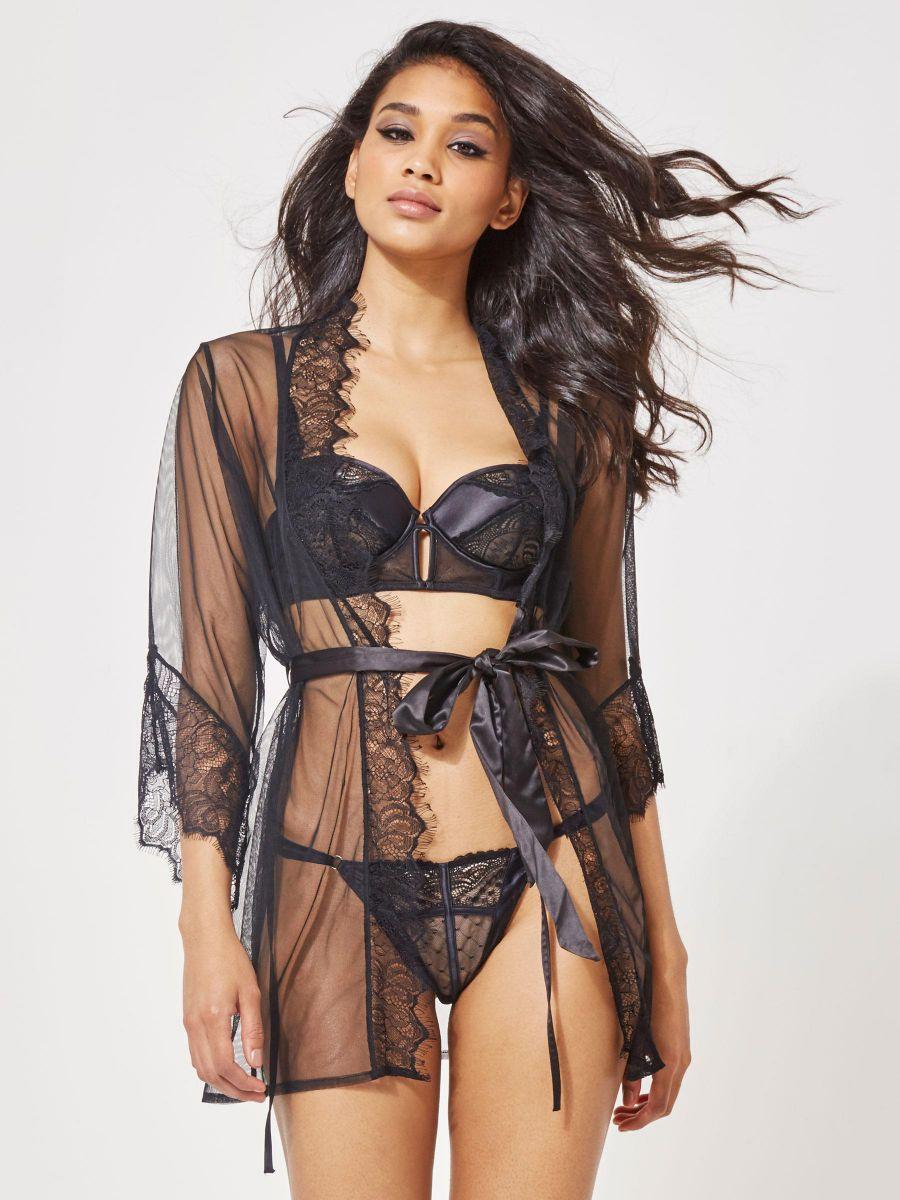 greatvarieties choose newest good looking Details about Ann Summers Womens Serena Robe Black Top Sexy Lingerie  Underwear